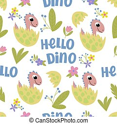 Seamless pattern on a white background with the image of pink baby dinosaurs in eggshell and the inscription -hello dino. For the design of wrapping paper, prints for childrens clothing