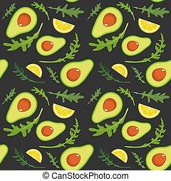 Seamless pattern on dark background with avocado, arugula and lemon slice. Vector illustration.