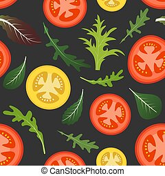 Seamless pattern on dark background with red and yellow tomatoes. Tomato vegetable with lettuce and arugula leaves. Vector illustration.
