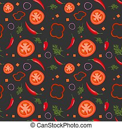 Seamless pattern on dark background with red vegetables. Tomatoes, paprika, hot peppers, onions and dill. Vector illustration.