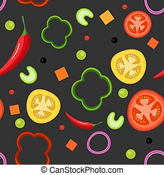 Seamless pattern on dark background with vegetables. Red and yellow tomatoes, paprika, hot peppers, onions, green peas and celery. Vector illustration.