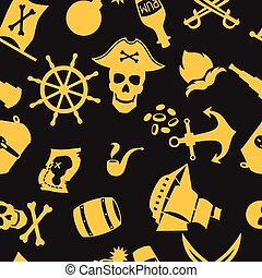 Seamless pattern on pirate theme with objects and elements