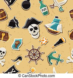 Seamless pattern on pirate theme with stickers and objects