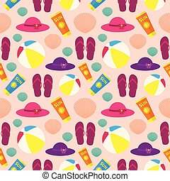 Seamless pattern on the theme of summer beach holidays
