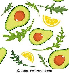 Seamless pattern on white background with avocado, arugula and lemon slice. Vector illustration.