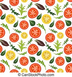 Seamless pattern on white background with red and yellow tomatoes. Tomato vegetable with lettuce and arugula leaves. Vector illustration.