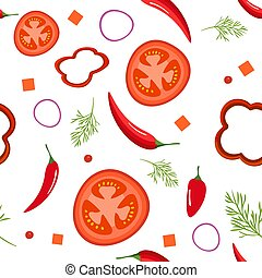 Seamless pattern on white background with red vegetables. Tomatoes, paprika, hot peppers, onions and dill. Vector illustration.