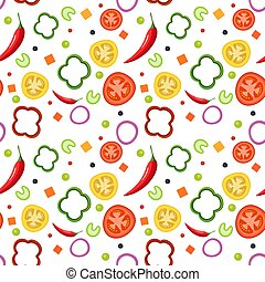 Seamless pattern on white background with vegetables. Red and yellow tomatoes, paprika, hot peppers, onions, green peas and celery. Vector illustration.