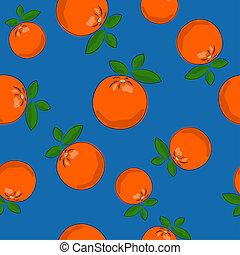Seamless Pattern ,Orange on Blue Background