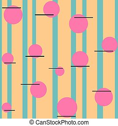 Seamless pattern. Orange stripes on a green background with pink circles.