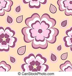 Seamless pattern orange with flowers sakura and leaves