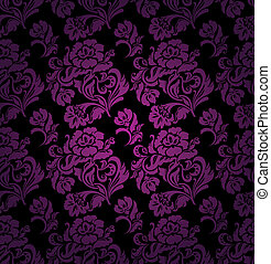 Seamless pattern, ornament lilac floral background