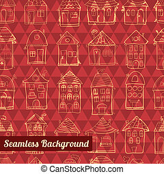 Seamless pattern outline cute houses