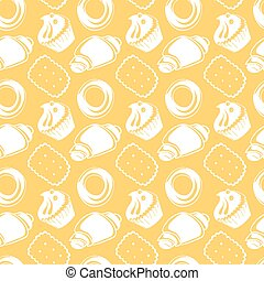 Seamless pattern outline delicious pastries, cookies, croissants, biscuits in doodle style