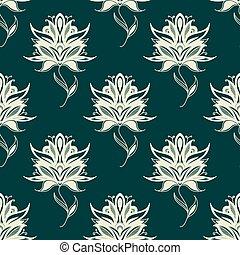 Seamless pattern paisley flowers on twining stems