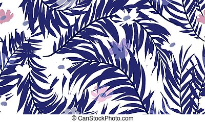 Seamless pattern, palm leaf and cosmos flower on white background, blue and purple tones