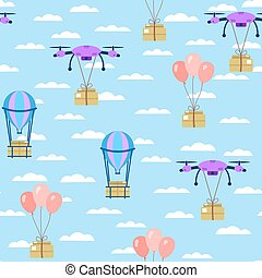Seamless pattern. Parcel delivery by drone, balloon. Parcels fly through the sky with clouds. Vector
