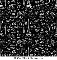 Seamless pattern Paris symbols,
