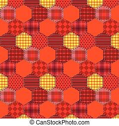 Seamless pattern patchwork orange fabrics hexagon