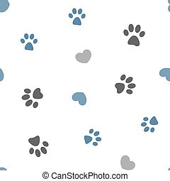 seamless pattern pawprints and hearts - Gray and blue paws ...