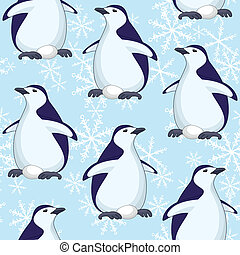 Seamless pattern, penguins and snowflakes - Seamless pattern...