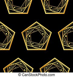 Seamless pattern, pentagons on black background. Vector.