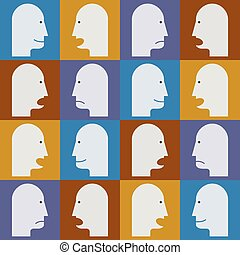 Seamless pattern. People's faces with different emotions (temper