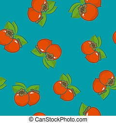 Seamless Pattern , Persimmon on Azure Background