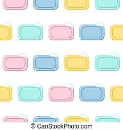 Seamless pattern pieces of solid soap Color illustration on a white background.