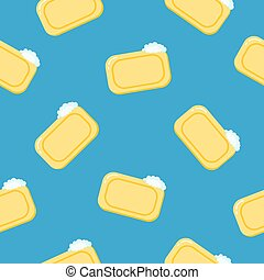 Seamless pattern pieces of solid yellow soap. Color illustration on a blue background.