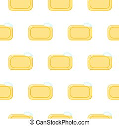 Seamless pattern pieces of solid yellow soap. Color illustration on a white background.