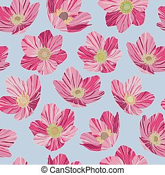 Seamless pattern pink flowers, light blue background, pop art style