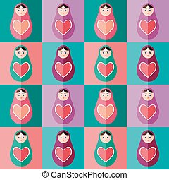 Seamless pattern pink, purple, orange, teal Russian dolls matryoshka background. Vector