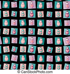 Seamless pattern pink, purple, orange, teal Russian dolls matryoshka on black background. Vector