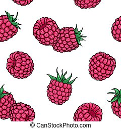seamless pattern pink raspberries with black contour on white background, symbol of summer. design holiday greeting card and invitation of seasonal summer holidays, beach parties, tourism and travel