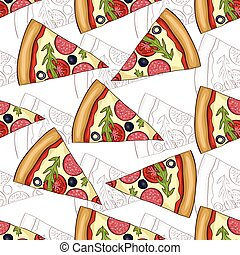 Seamless pattern pizza salami scetch and color