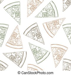Seamless pattern pizza with bacon scetch