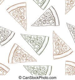 Seamless pattern pizza with mashroom scetch