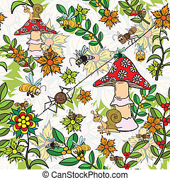 Seamless pattern. Plants, insects, and fungi.