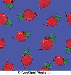 Seamless Pattern ,Pomegranate on Purple Background