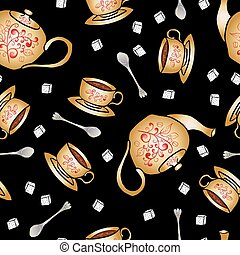 Seamless pattern pottery teapot and cup hand drawing