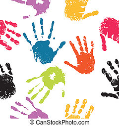 Print of hand of child, seamless cute teamwork pattern, vector grunge illustration