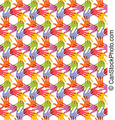 Seamless Pattern. Print of Hands.