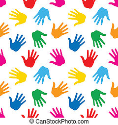 Seamless Pattern. Print of Hands