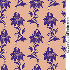 seamless pattern - purple flowers on a beige background
