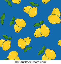 Seamless Pattern , Quince on Blue Background