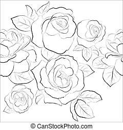 seamless, pattern., róże