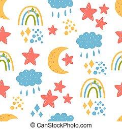 Seamless pattern - rainbow, moon, clouds, stars
