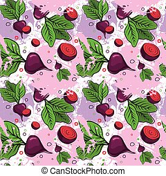Seamless Pattern Red Beets Root Vegetables Ornament Background