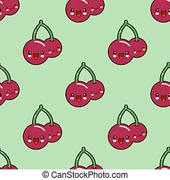 Seamless pattern Red cherry kawaii funny face with eyes and pink cheeks Fresh juicy berries isolated on green background. Vector illustration